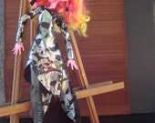 Monster High Giant Gooliope 17 inch custom handmade wrap dress Rock n Roll Silver Skulls on Black butter knit Raw Edge stabilized