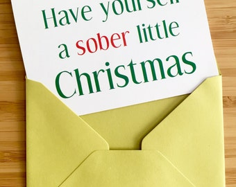 Sober Christmas Card with green envelope. Recovery holiday card, sobriety holiday card, recovery Christmas card, sober Christmas card.