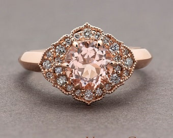 Light Pink Morganite Engagement Ring, Rose Gold Flower Ring