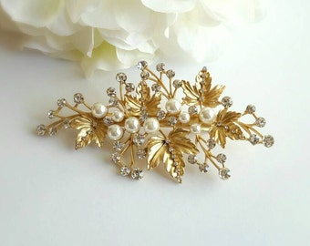 Gold Crystal and Pearl Bridal hair clip, Golden Wedding Hair Accessory, Statement Vintage Hair Jewelry, Rhinestone Hair Clip, Headpiece, Pin