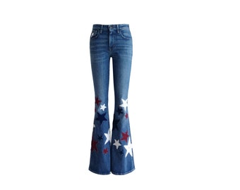 Customize Your Jeans - Upcycle- Send me your jeans to add crochet star patches