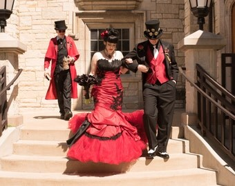 Gorgeous Red and Black Gothic Mermaid Wedding Dress