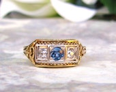 Art Deco Engagement Ring Antique Sapphire & Diamond Wedding Band 14K Two Tone Gold Filigree Ring Three Stone Anniversary Ring