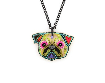 SALE Regularily 19.95 - Pug in Fawn - Day of the Dead Sugar Skull Dog Necklace