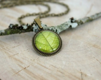 Green Leaf Necklace, Antique Bronze Pendant, Glass Cabochon Pendant With Chain