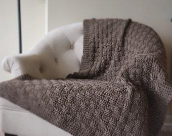Basket Weave Knit Blanket in Superwash Wool Free US Shipping