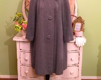 Lovely Gray Mink Cashmere Coat, 50s Swing Coat, Silver Mink Collar, Retro Winter Coat, Hollywood Glam, Pure Cashmere Coat, Womens Medium