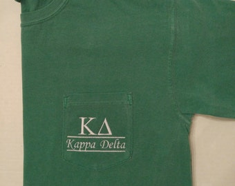 sorority shirts kappa delta sorority t shirt greek letter shirt pocket t shirt monogrammed pocket t personalized t shirt