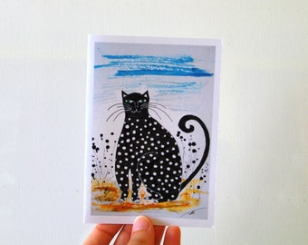 Happy Birthday card Black and white card cat Funny card for him From the cat Paper goods Kids Birthday card Father's Day card