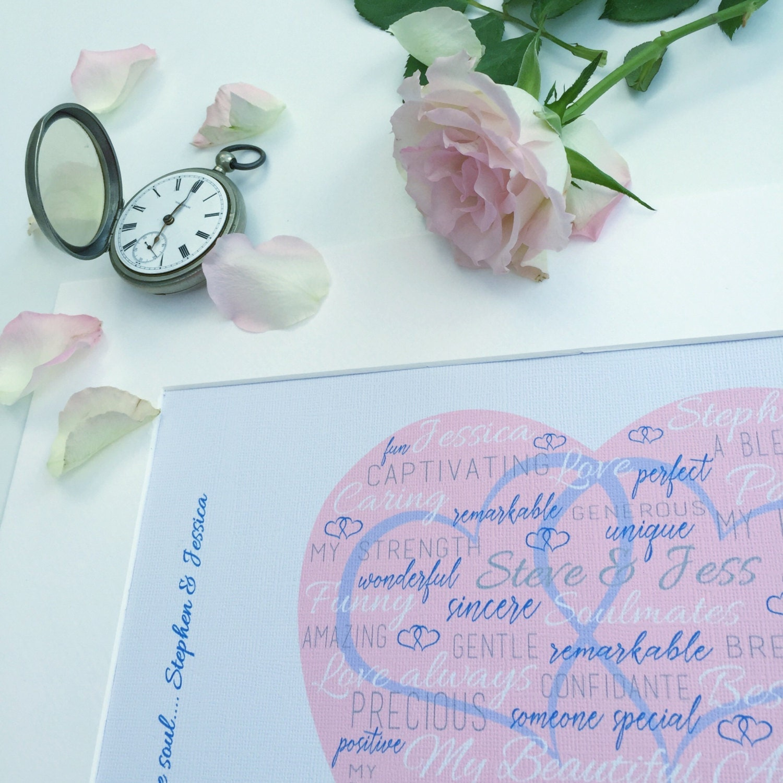 Art Print Wedding Gift : Personalised Wedding Art Print Wedding Gift Idea Unframed