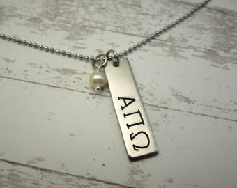 Greek Letters necklace, hand stamped rectangle tag, sorority necklace