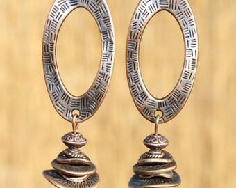 Copper Earrings Dangle Earrings Boho Chic Earrings Boho Earrings Bohemian Earrings Jewelry Gift Ideas LONG EARRINGS Gift For Her