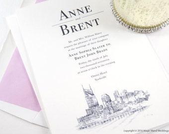 Nashville Water View Wedding Invitation, Nashville Tennessee Wedding (Sold in Sets of 10 Invitations, RSVP Cards + Envelopes)