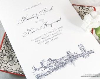 Sacramento Skyline Wedding Programs (set of 25 cards)