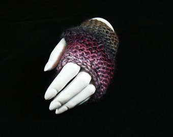 Hand Knitted Multicolour Fingerless Gloves