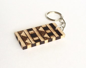 Geometric Design Wooden Keychain Wood Burned Rustic Keychain
