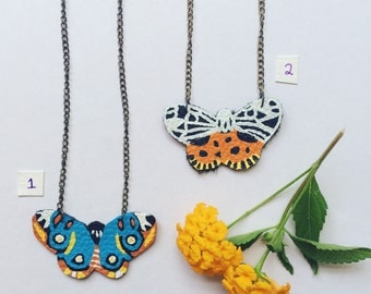 Hand Painted Leather Butterfly Necklace -- Moth Insect Jewellery