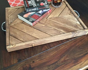 Rustic Wood Chevron Serving Tray