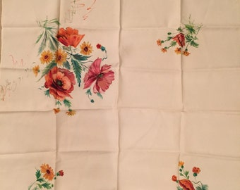 Vintage 1930 scarf handpainted Floral 31 inch by 29 inch For women accessory clothing display framing antique regional costume