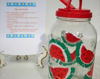 Vintage Glass Suntea Sun Tea - Watermelon Sun Tea Suntea Jar Spigot & Flip-top Summer Beverage Picnic Comes with Suntea Recipe