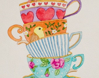 "Is It Tea Time Yet, Original Watercolor Painting, 6""X8"""