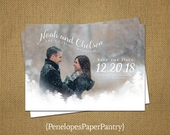 Photo Save The Date Card,Wedding,Christmas,Holiday or Winter, Romantic,Modern,Simple,Elegant,Sophisticated,Customizable With White Envelopes