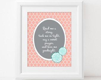 Read Me A Story - Digital Wall Art Print PRINTABLE Tuck Me In Tight Say Sweet Prayer Baby Toddler Girl Nursery Room Bedroom Coral Grey Aqua