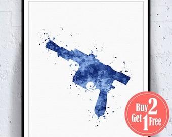 BIG SALE: Han Solo Blaster Star Wars Print Star Wars Blaster, star wars art, star wars wall art, star wars decor watercolor art, painting