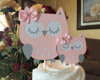 Owl Baby Shower Cake Topper/Owl Cake Topper/Pink And Grey Owl Baby Shower