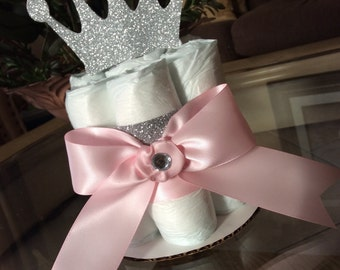 Princess mini diaper cake/Princess baby shower centerpiece/Girl mini diaper cakes/Girl baby shower centerpiece/Pink and silver baby shower