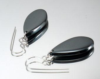 Hematite teardrop earrings, hematite earrings, drop and dangle earrings, handmade earrings, gunmetal earrings, gunmetal jewelry