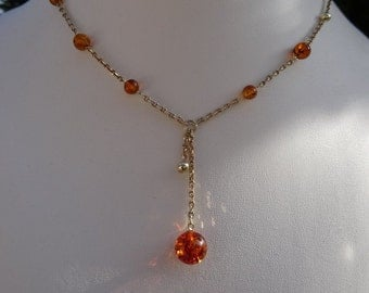 Necklace with amber, beautifully in detail, 585 gold filled