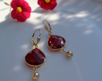 Garnet Earrings in gold, 585 gold filled with hydro-Garnet