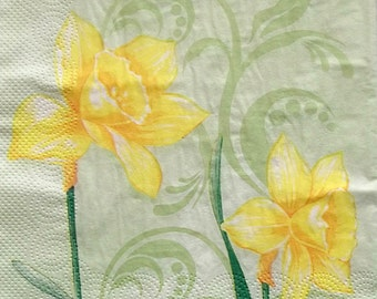 Set of 2 pcs 3-ply ''Spring flower'' paper napkins for Decoupage or collectibles 33x33cm, Narcissus napkins, Decopatch napkins