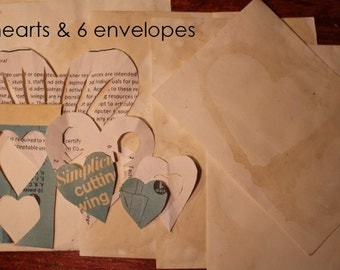 6 Hearts & 6 Envelopes (coffee stained)