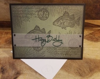 Handmade Masculine Bass Fish Birthday Card ~Cards For Him~