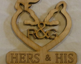 Custom made for mrsfixit ... Wedding Cake Topper .. HERS & HIS .. Browning Heart .. #64