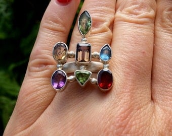 Multi gemstone ring, Sterling Silver Large gemstone ring, statement ring, semi precious ring, Large ring, multi stone ring, unique US 7