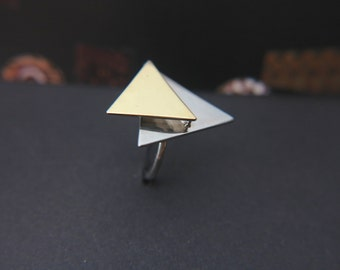 The double triangle ring -   Geometric jewelry - Silver jewelry
