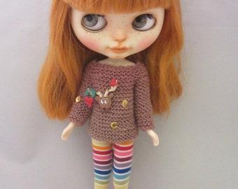 Blythe - Christmas sweater for your Blythe doll  - handmade - knitted - Blythe custom