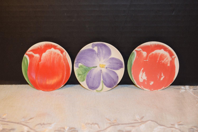 Small Decorative Plates Miniature Floral Plates Trio Vintage Tulip Lily Mini Plates Floral