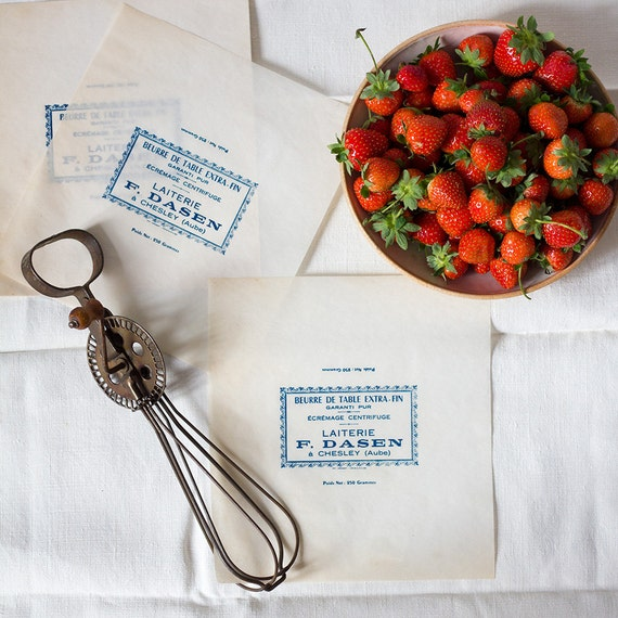 Vintage French Butter Papers - Classic Blue