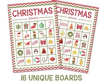 Instant Download-Christmas Bingo + Memory Game (16 Boards)