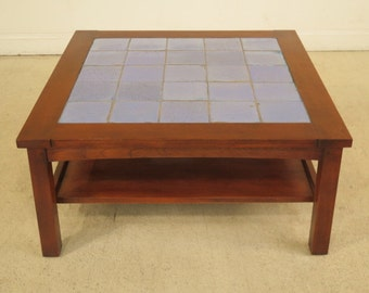 F40458E: STICKLEY Arts U0026 Crafts Cherry Tile Top Coffee Table