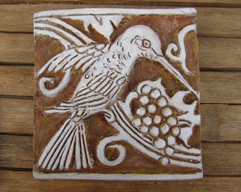 Hummingbird Bas Relief inspired by the Batchelder and Malibu Potteries era. Designed as Either a Single Art Tile or in the Classic Grouping.