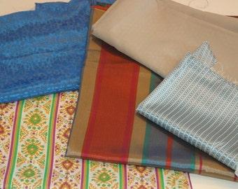Vintage Fabric Remnant Bundle; Fancy Fabrics; Destash