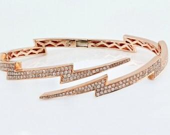 """1.46ct Pavé Diamonds 14K Rose Gold Lightning Bolt Bangle Cuff Bracelet - 6.5""""- CUSTOM MADE"""