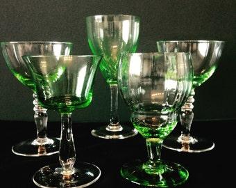 Set of Gorgeous Green Vintage Glassware.
