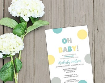 Oh Baby Teal Grey Yellow Gender Neutral Baby Shower Invitation Printable Digital