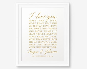 Personalized Wedding Sign Gold Color Bob Dylan Song Lyric Engagement Gift Printable